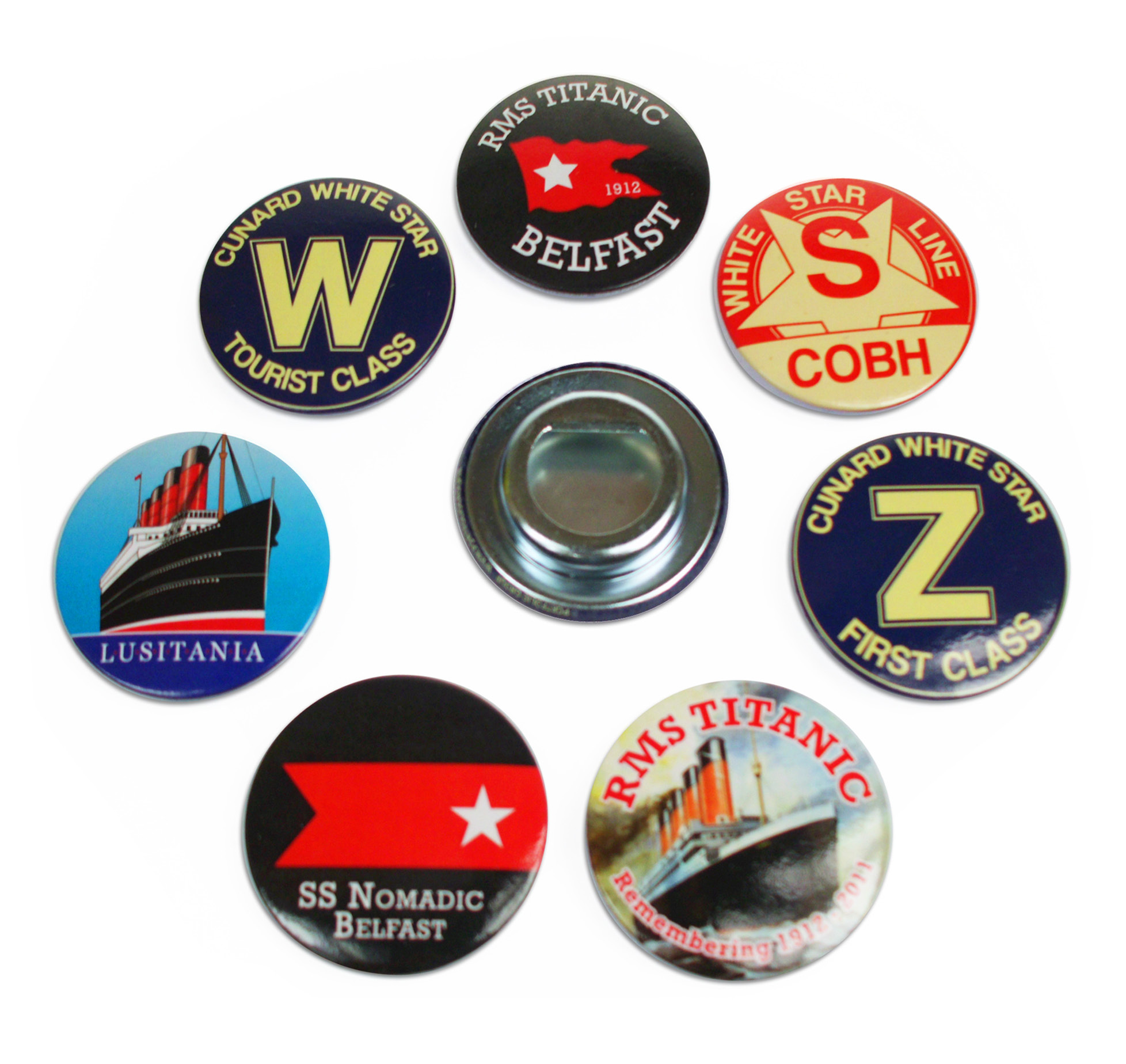 Titanic Button Bottle Openers Set Of 7 Assorted