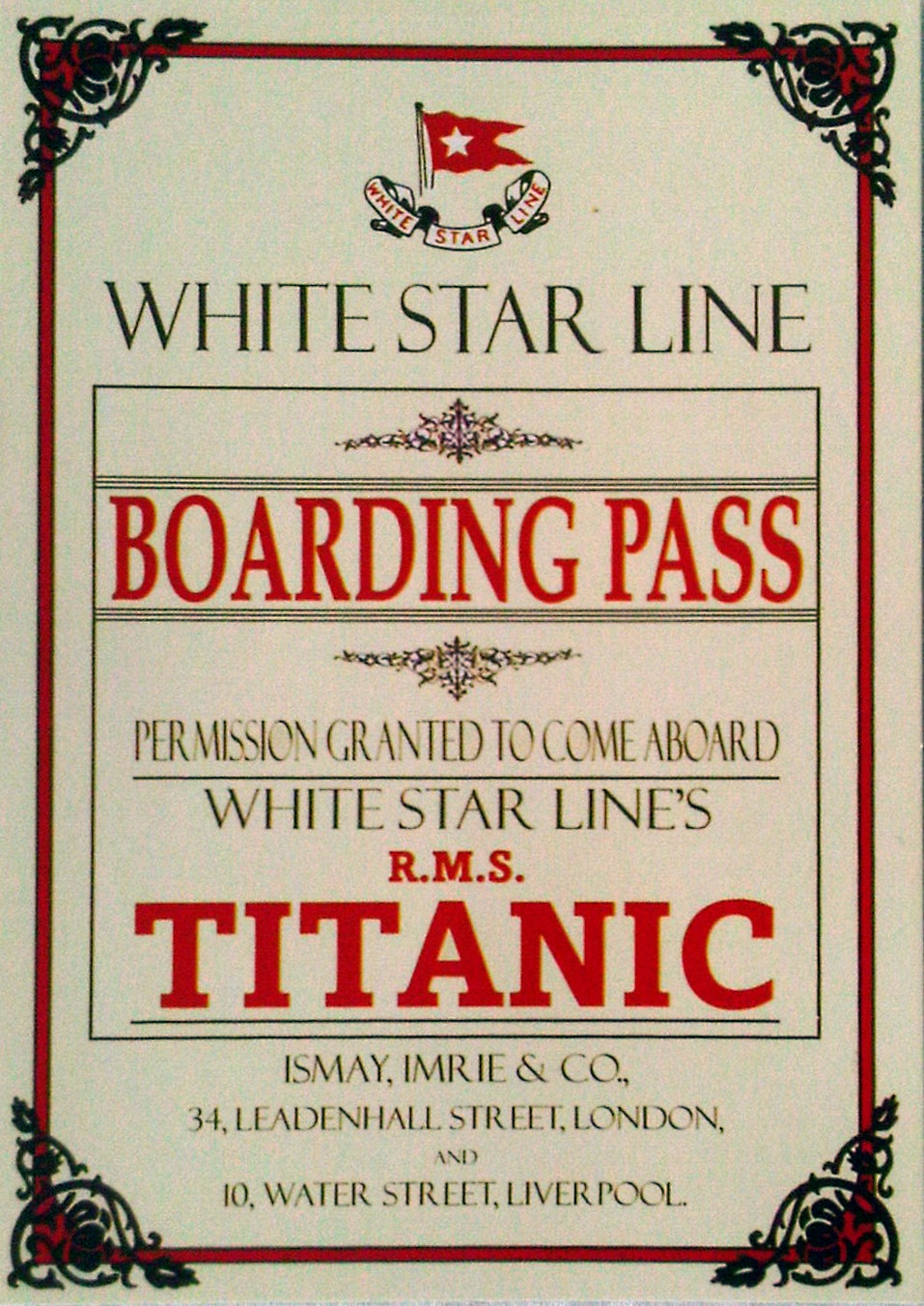 6 x RMS Titanic Boarding Pass Postcards