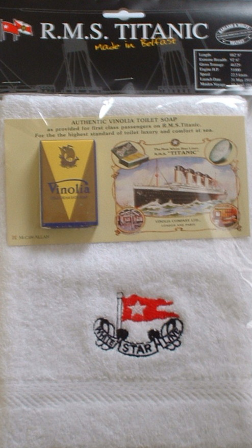 Titanic Face Cloth and Vinolia Soap