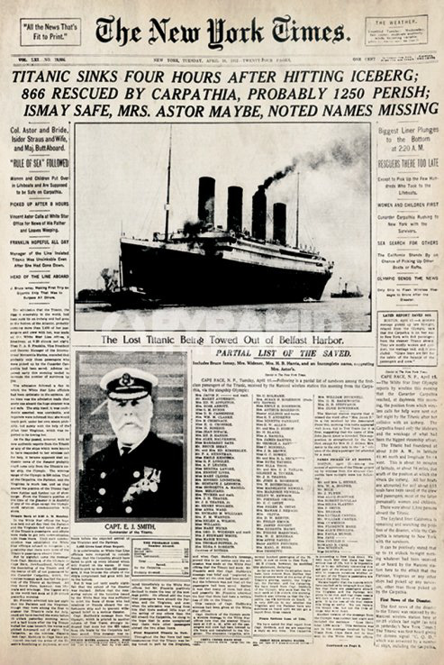 Titanic | New York Times | Large Poster