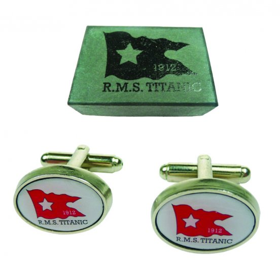 Titanic Metal Cufflinks Set - White
