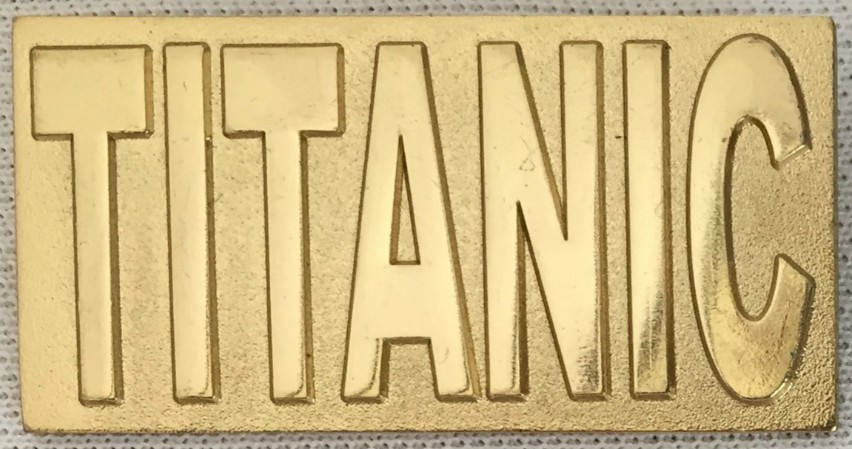 Titanic Metal Rectangular Lapel Badge - Gold